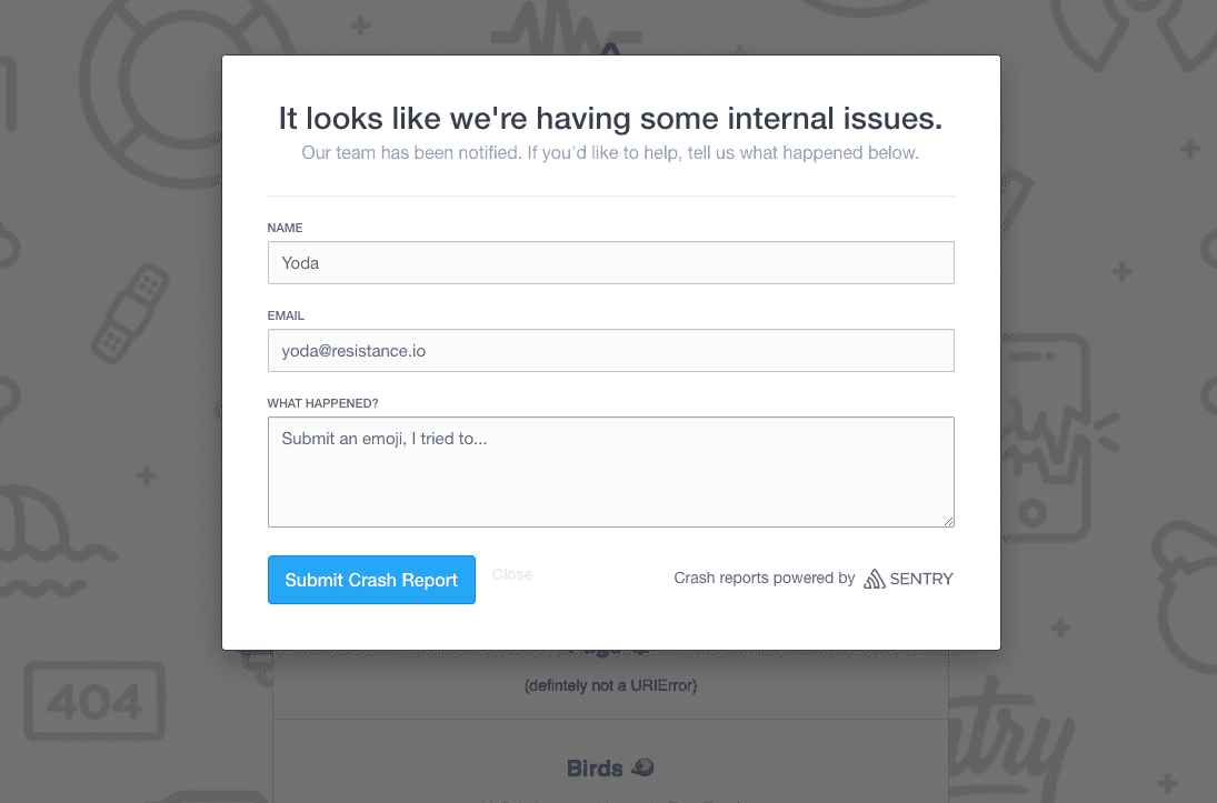 A screenshot of the User Feedback modal window, which includes a Name, Email, and 'What happened?' field, and a button to submit the report.