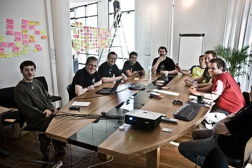 Photo of the CCP Games team in their office.